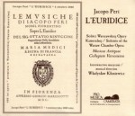 L-EURIDICE / JACOPO PERI / 2 CD